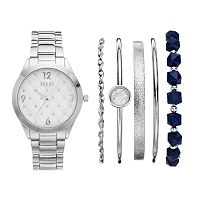 Folio Women's Crystal Watch & Bracelet Set