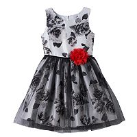 Girls 7-16 Lilt Black & White Shantung Rose Dress