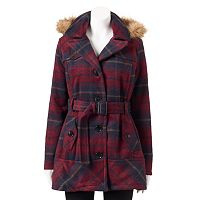 Juniors' Urban Republic Plaid Faux-Fur Wool Blend Jacket