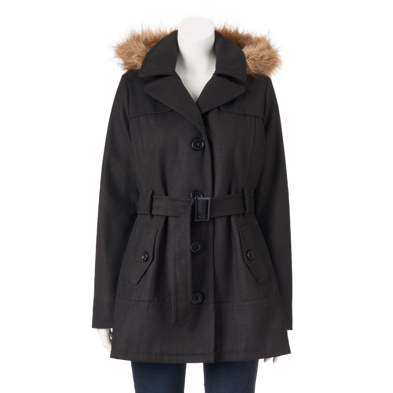 Juniors Urban Republic Hooded Faux-Fur Wool Blend Jacket