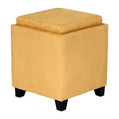Armen Living Microfiber Storage Ottoman by