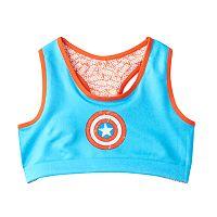 Girls 6-16 Marvel Captain America Reversible Raceback Logo Bra