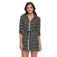 Women's Apt. 9® Hooded Striped Zip-Front Cover-Up