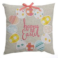 Celebrate Easter Together Egg Wreath ''Happy Easter'' Small Throw Pillow