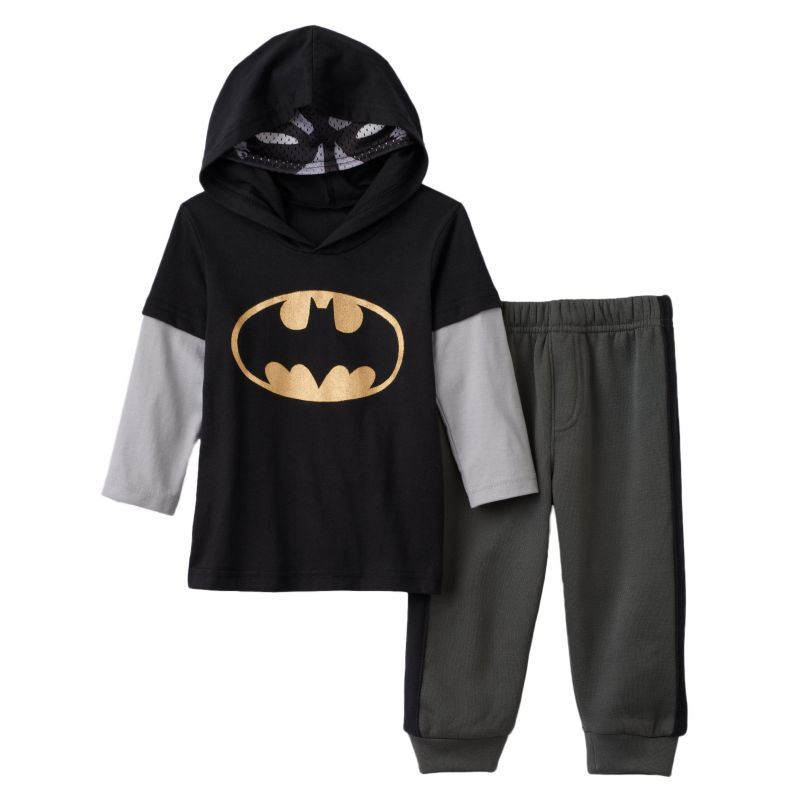 Toddler Boy DC Comics Batman Mask Hooded Tee & Pants Set, Size: 4T, Black