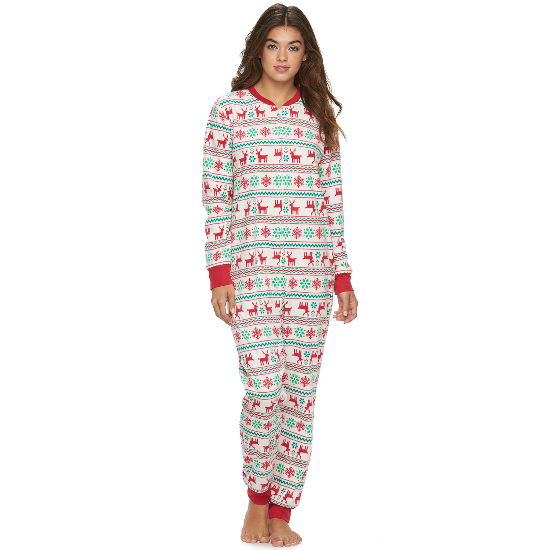 Jammies For Your Families Juniors Reindeer One-Piece Pajamas