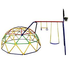 Skywalker Sports 10-Foot Geo Dome Climber with Swing Set & Basketball Hoop Accessory by