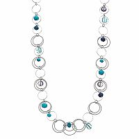 Aqua Bead Long Circle Link Necklace