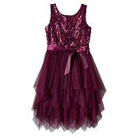 Girls 7-16 Lilt Plum Sequin Mesh Fairy Hem Dress