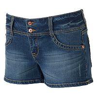 Juniors' Unionbay 2-Button Crisscross Denim Shortie Shorts
