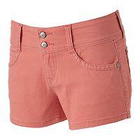 Juniors' Unionbay 2-Button Crisscross Shortie Shorts