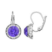 Brilliance Silver Plated Halo Drop Earrings with Swarovski Crystals