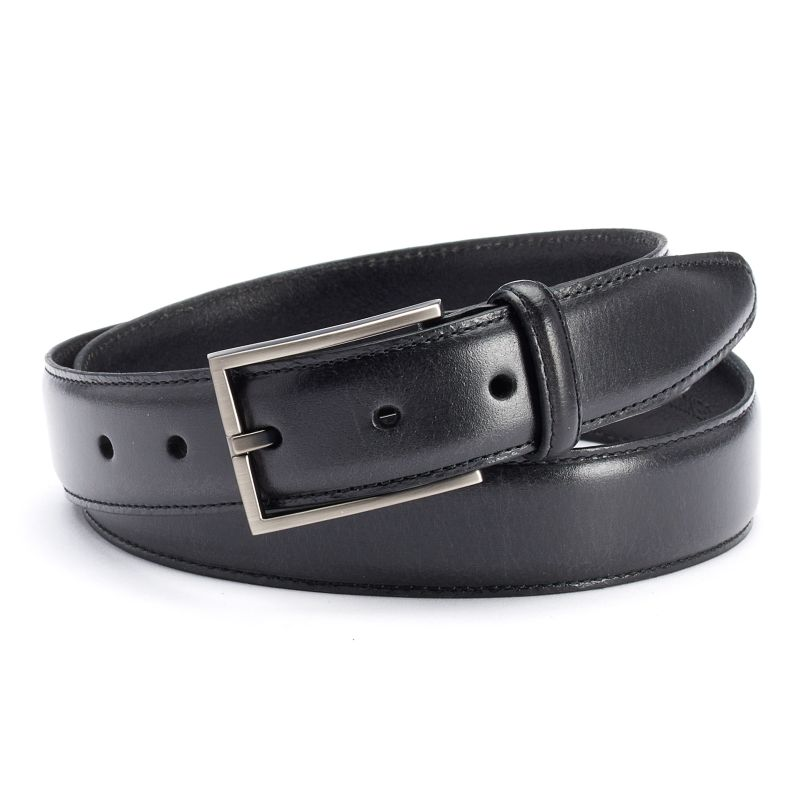 Men's Dockers Feather-Edge Stitched Leather Belt, Size: 34, Black thumbnail
