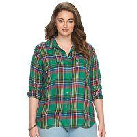 Plus Size Chaps Plaid Twill Button-Down Shirt