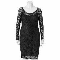 Juniors' Plus Size Wrapper Lace Sheath Dress