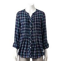 Women's Croft & Barrow® Plaid Roll-Tab Tunic