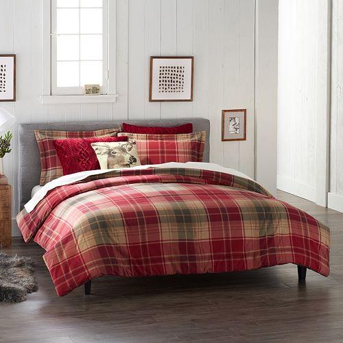 Cuddl Duds Flannel Full Queen Comforter Set Red Plaid Ebay