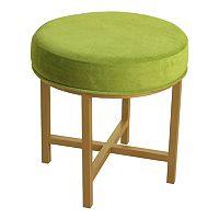 HomePop Green Velvet Circle Ottoman