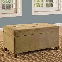 HomePop Faux Microsuede Storage Bench