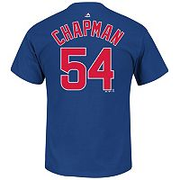 Men's Majestic Chicago Cubs Aroldis Chapman Name and Number Tee