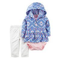 Baby Girl Carter's Hooded Peplum Cardigan, Bodysuit & Pants Set