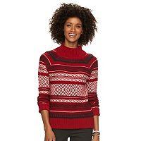 Petite Chaps Jacquard Mockneck Sweater