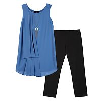 Girls 7-16 IZ Amy Byer Asymmetrical Tuck-Front Tank Top & Leggings Set with Necklace