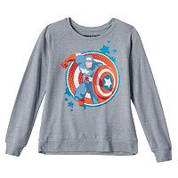 Girls 7-16 Marvel Captain America Glitter Supersoft Fleece-Lined Top