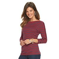 Petite Chaps Striped Boatneck Tee