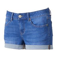 Juniors' SO® Rolled Denim Shortie Shorts