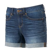 Juniors' SO® Roll-Cuff Denim Midi Shorts
