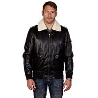 Men's XRAY Sherpa-Collar Faux-Leather Bomber Jacket