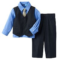 Toddler Boy Great Guy Pinstripe Vest, Shirt & Pants Set with Tie