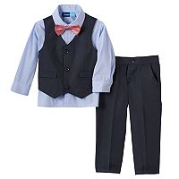 Toddler Boy Great Guy Navy Vest, Striped Button-Down Shirt, Pants & Bowtie Set