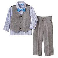 Toddler Boy Great Guy Gray Vest, Plaid Button-Down Shirt, Pants & Bowtie Set