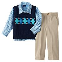 Toddler Boy Great Guy Argyle Sweater Vest, Plaid Shirt & Pants Set