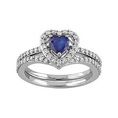 10k White Gold 1/2 Carat T.W. Diamond & Sapphire Heart Engagement Ring Set by