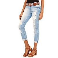 Juniors' Wallflower Ripped Denim Capris
