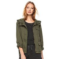 Juniors' Madden Girl Hooded Twill Utility Jacket