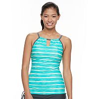 Women's Free Country Striped Keyhole Tankini Top