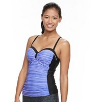 Women's Free Country Space-Dye Ruched Tankini Top