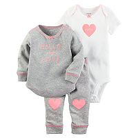 Baby Girl Carter's Heart Bodysuit, Embroidered Top & Pants Set