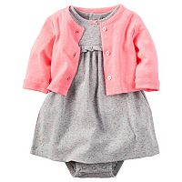 Baby Girl Carter's Ruffled Mock-Layer Dress & Cardigan Set