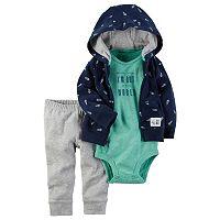 Baby Boy Carter's Space Bodysuit, Print Hooded Cardigan & Pants Set