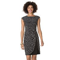 Petite Chaps Polka-Dot A-Line Dress