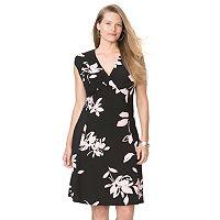 Plus Size Chaps Floral Surplice Empire Dress