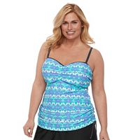 Plus Size Free Country Tie-Dye Ruched Tankini Top