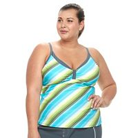 Plus Size Free Country Striped Underwire Tankini Top