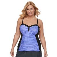 Plus Size Free Country Space-Dyed Ruched Tankini Top