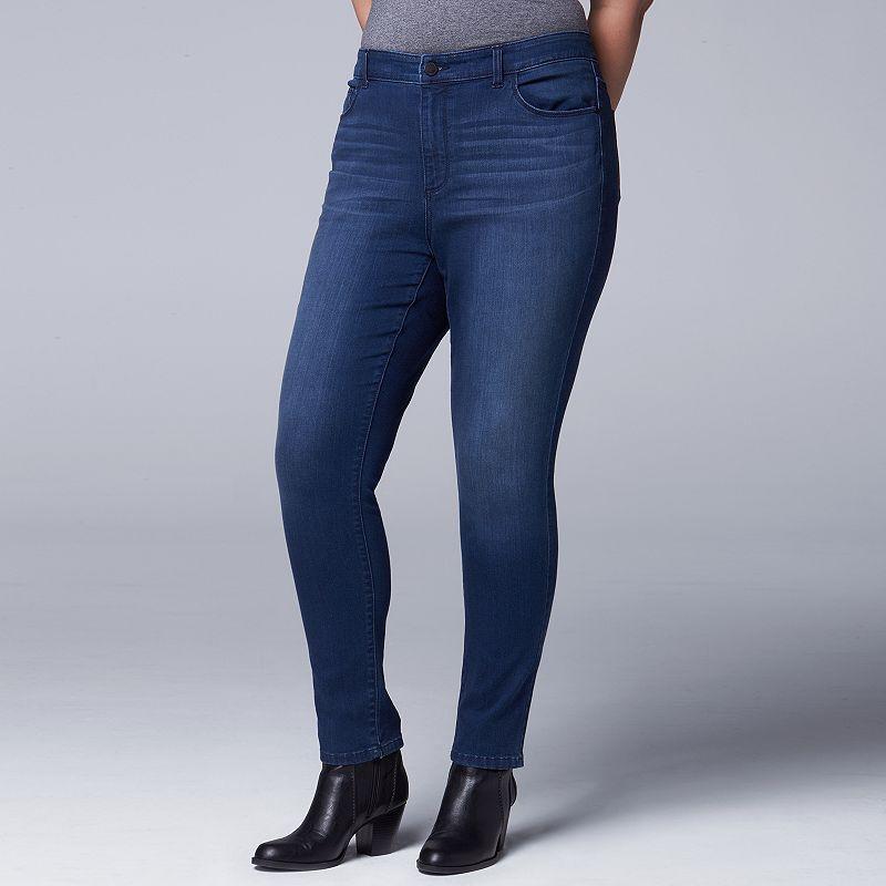 Plus Size Simply Vera Vera Wang Super Skinny Jeans, Women's, Size: 22W Short, Dark Blue